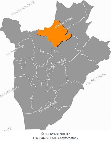 Map of Burundi with the provinces, Ngozi is highlighted by orange