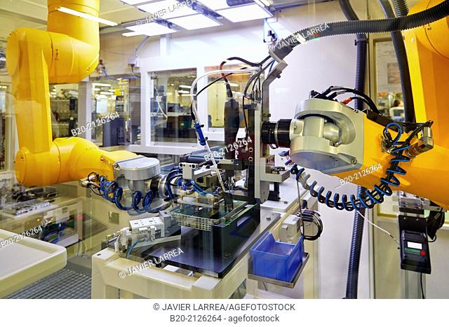 Automated production line. Plant manufacturing of electronic equipment