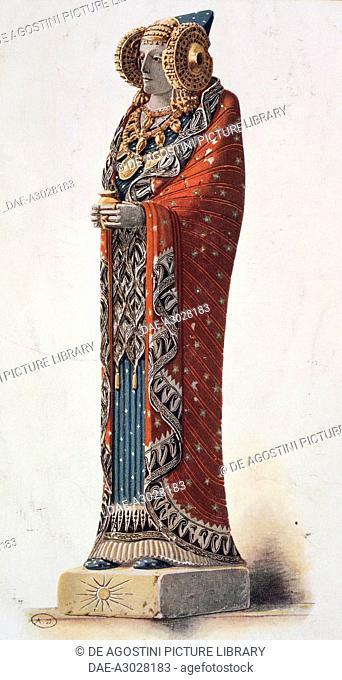 Reconstruction of the Lady of Elche in original colours, engraving.  Paris, Bibliothèque Des Arts Decoratifs (Library)