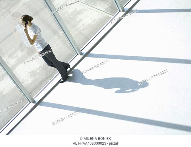Young woman using cell phone by window, full length, high angle view