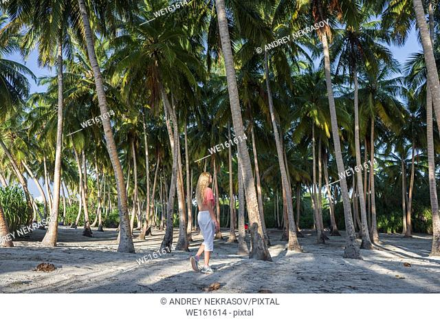 Young beautiful woman is walking in a rainforest among palm trees. Fuvahmulah island, Indian Ocean, Maldives, Asia