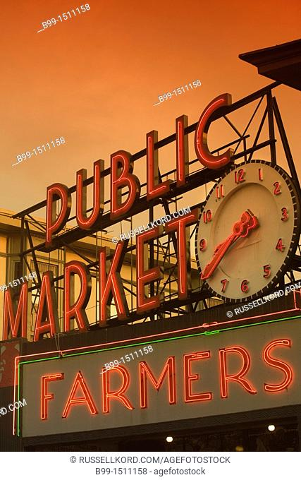Pike Place Public Market Center Neon Sign Seattle Washington State USA