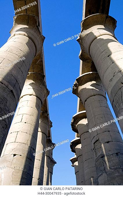 Luxor, Egypt. Temple of Luxor: the colonnade of Amenhotep III