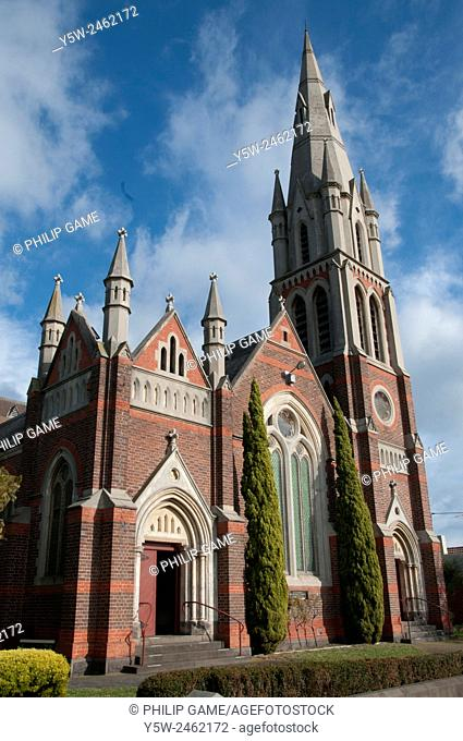 St Cuthberts Presbyterian Church in Brighton, Melbourne, an example of bichrome Gothic Revival style