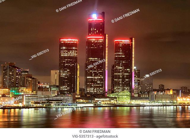 General Motors building illuminated at night in Detroit, Michigan, USA. - DETROIT, MICHIGAN, USA, 15/09/2014