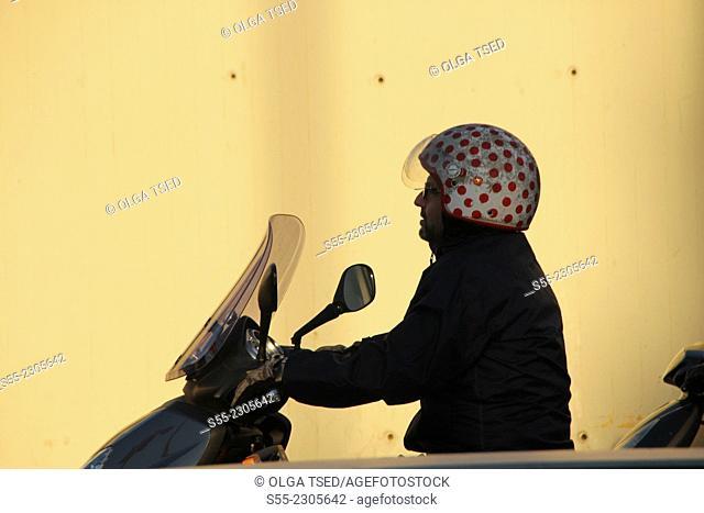 Motorbiker, Barcelona, Catalonia, Spain