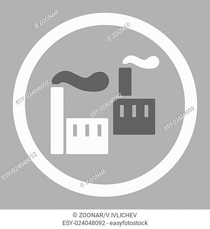 Industry flat dark gray and white colors rounded vector icon