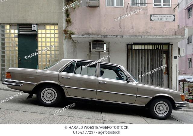 Hong Kong, China, Asia. Historic 1970's Mercedes S-Class W116 on Upper Station Street