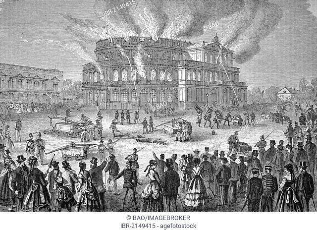 Hoftheater in Dresden in flames, Saxony, Germany, historic wood engraving, ca. 1880