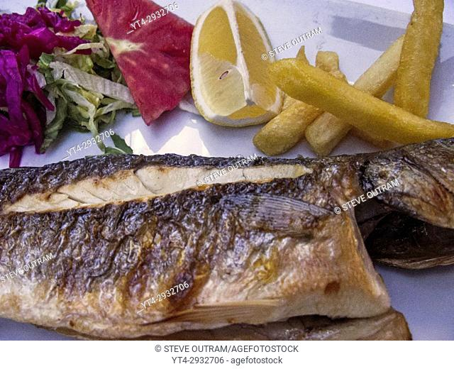 Freshly Cooked Red Mullet at a Fish Restaurant, Kumkapi, Istanbul,Turkey