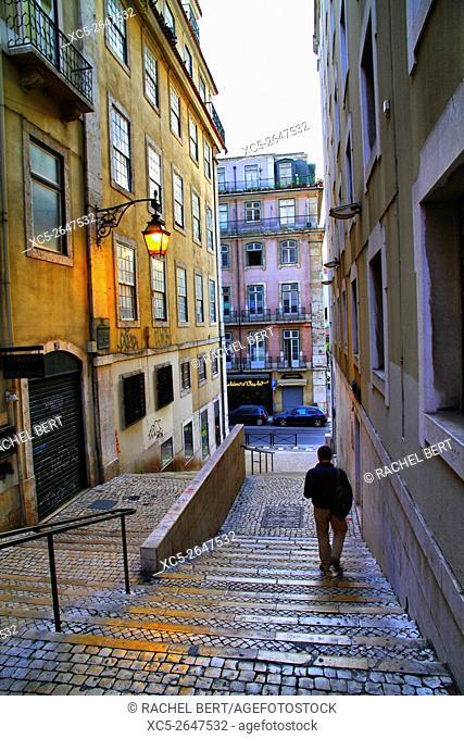 Steps near Largo Sao Cristovao, Lisbon, Portugal