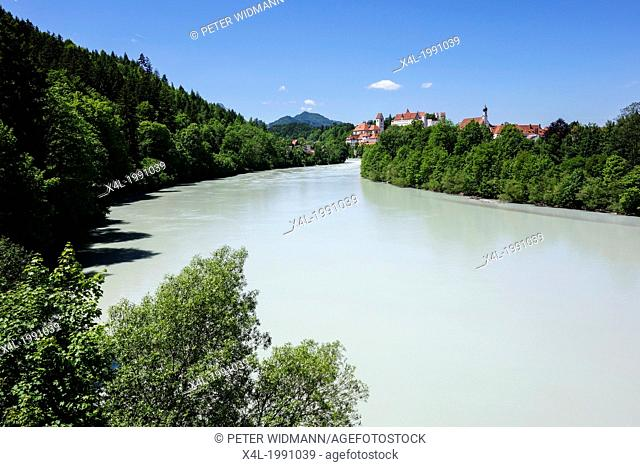 Fuessen at the Lech, city view, Castle, baroque church St Mang, Allgaeu, Bavaria, Germany