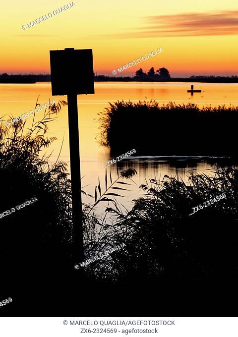Encanyissada Lagoon at dawn. Ebro River Delta Natural Park, Tarragona province, Catalonia, Spain
