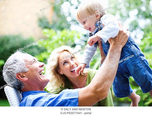 Grandparents enjoying grandson