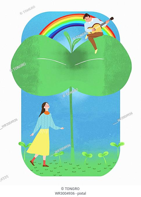 Romantic couple with sprouts and rainbow
