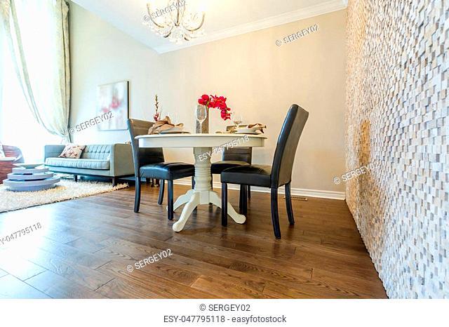 Modern living room interior and dinning set
