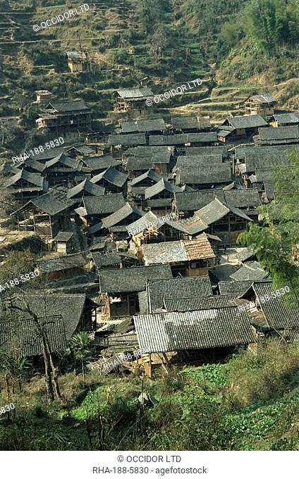 Typical Dong village near Rongjiang, Guizhou, China, Asia
