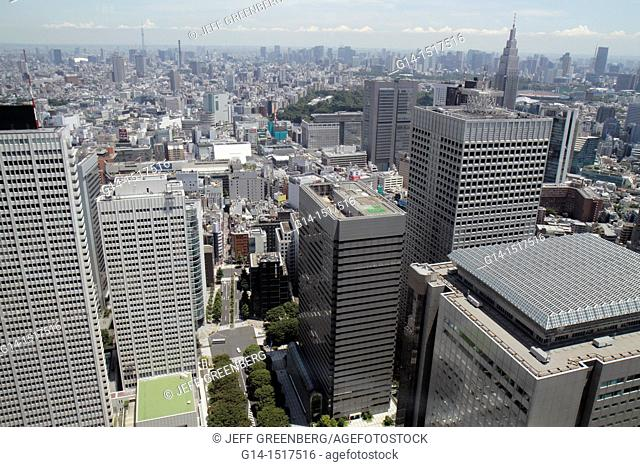 Japan, Tokyo, Shinjuku, Tokyo Metropolitan Government Office No 1 Main Building, observatory, 45th floor, aerial view, window, city skyline, skyscrapers