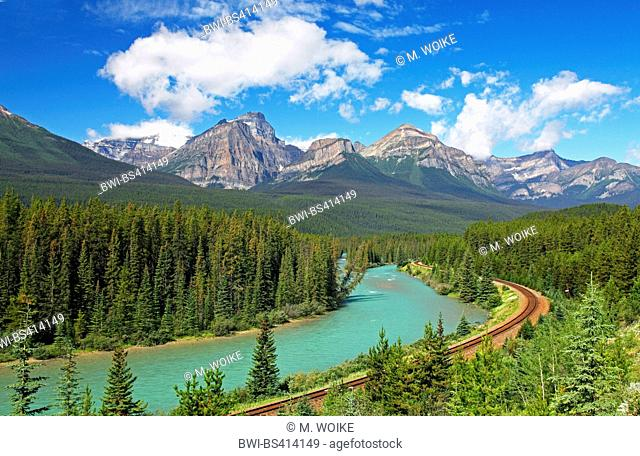 railroad line through the Bow River Valley, Rocky Mountains, Canada, Alberta, Banff National Park