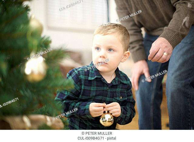 Senior man and grandson placing baubles on christmas tree