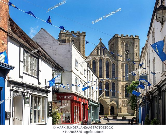 View along Kirkgate to the Cathedral in Ripon North Yorkshire England