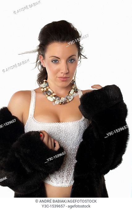 Beautiful woman in mink coat