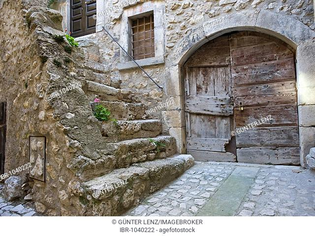 Old door and stairs in a back yard, Santa Stefano de Sessiano, Abbruzzies, Abruzzo, Italy, Europe