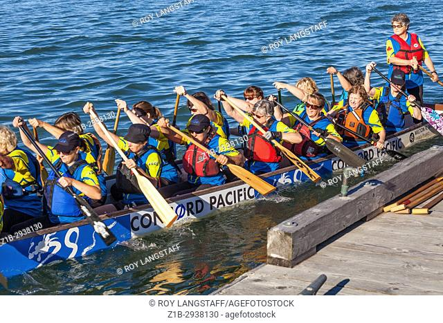 Dragon Boat with a team of women at the 2017 Steveston Dragon Boat Festival near Vancouver, Canada