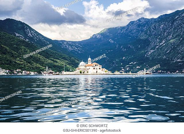 Our Lady of the Rocks, with Mountains in the Background, Bay of Kotor, Montenegro