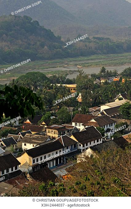 overview of Luang Prabang from Phu Si hill with the Mekong River in the background, northern Laos, Southeast Asia