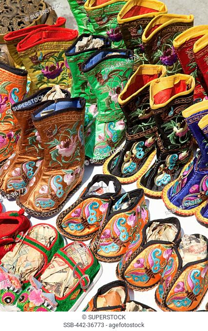 Display of traditional Chinese shoes and slippers, Stanley Market, Stanley, Hong Kong, China