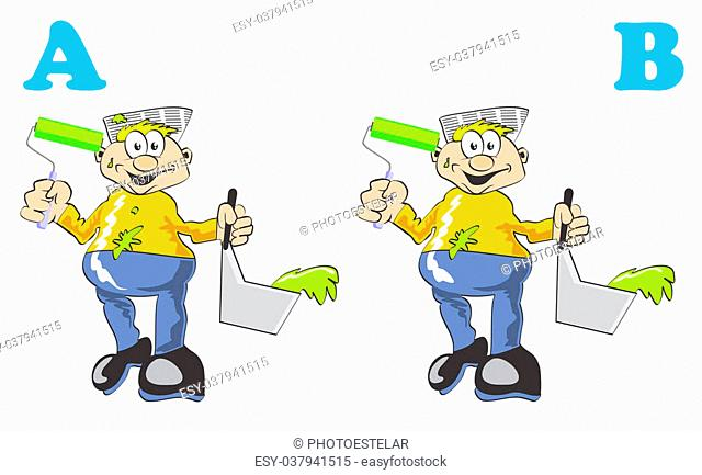 Game for children's: find the 7 differences between these two painters