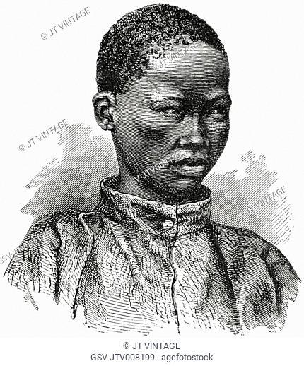 Young Bushman, Lake Ngami Region, Botswana, Africa, Illustration, 1885