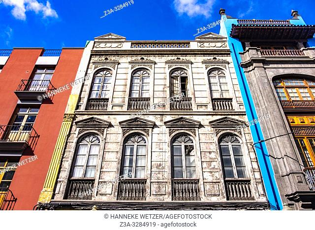 Traditional colorful architecture in the city center of Las Palmas de Gran Canaria, Canary Islands