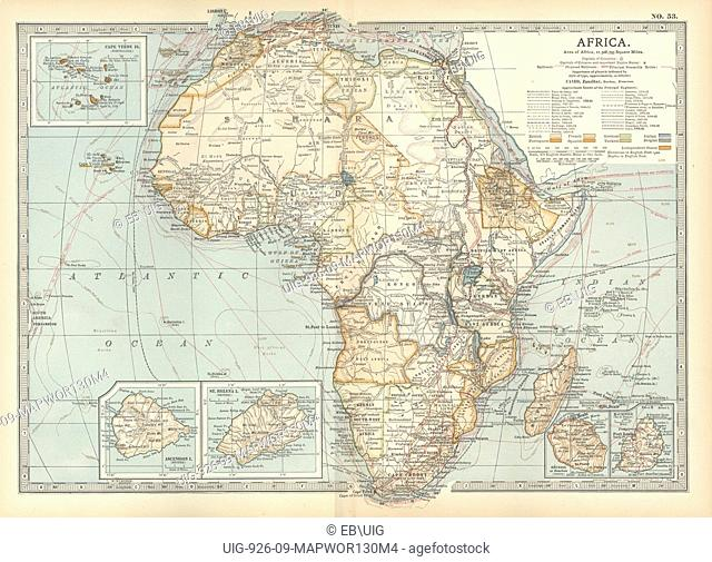 Map of colonial Africa, with insets of Ascension Island, St. Helena Island, Reunion, Mauritius, and Cape Verde Islands, circa 1902