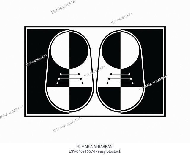 Black and white abstract pair of shoes on a white background. Vector illustration