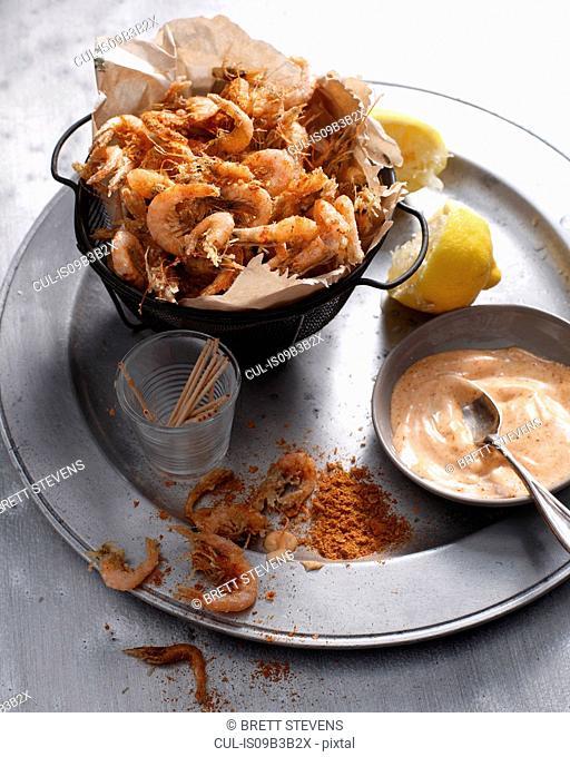 Spicy school prawns with paprika aioli