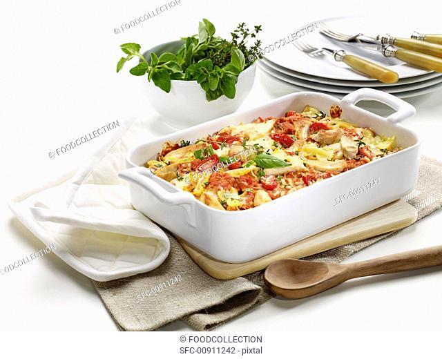Pasta bake with chicken breast