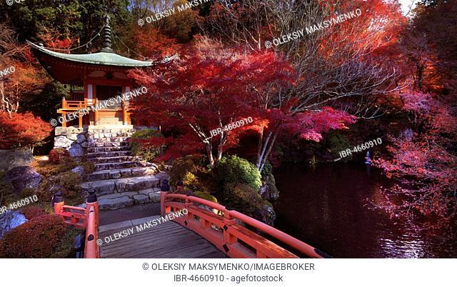 Bridge leading to Bentendo Hall over a pond with Zen garden at Daigo-ji temple, autumn scenery, Shimo-Daigo part of Daigoji complex, Shingon Buddhist temple