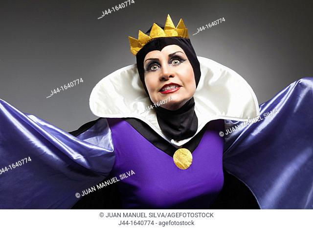 Mature woman wearing the evil queen costume