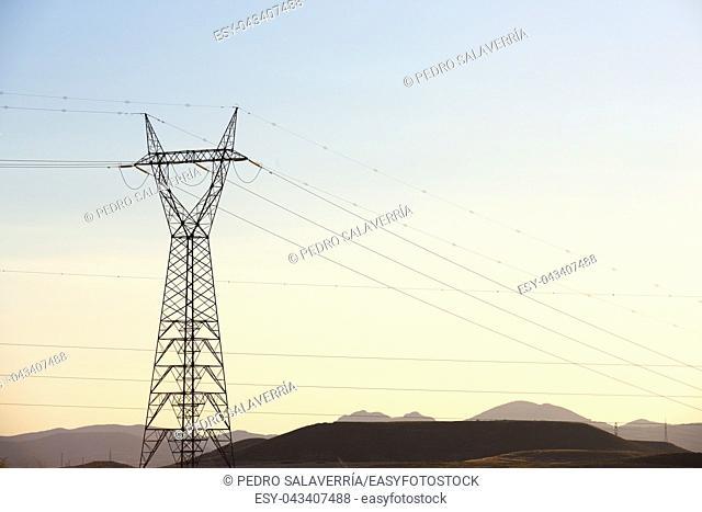 Power line in Zaragoza province, Aragon, Spain