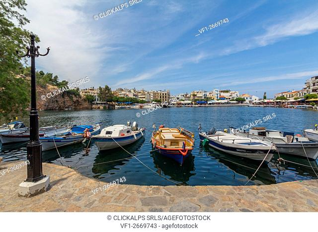 Boats moored in the port of Agios Nikolaos, Crete, Greece