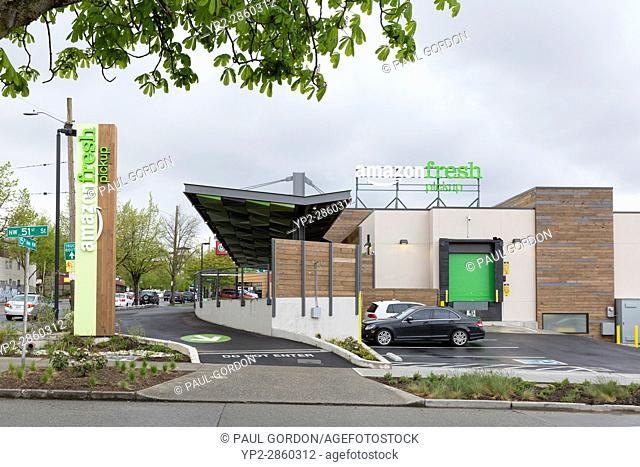 Seattle, Washington: AmazonFresh Pickup Ballard. Exit area of the AmazonFresh Pickup in the Ballard neighborhood. Now in its second month of a beta test program
