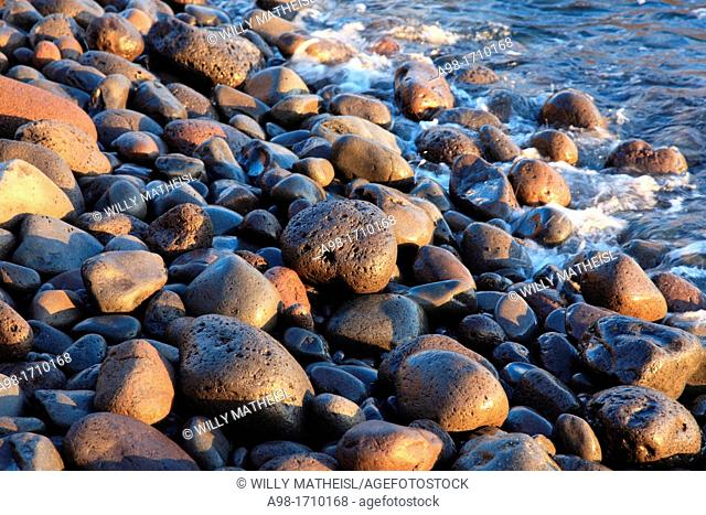 Huge Pebble rocks at the beach of Paul do Mar, Madeira, Portugal, Europe
