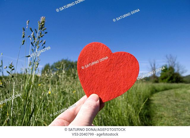 Holding heart in countryside