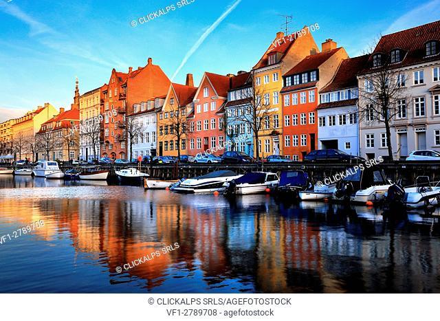 Canal of Copenhagen at sunset, Denmark, Europe