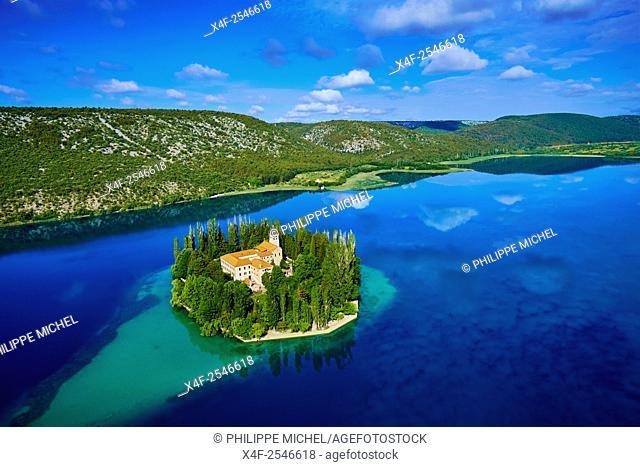 Croatia, Dalmatia, Sibenik-Knin, Krka National Park, Roman Catholic Franciscan monastery Visovac, aerial view