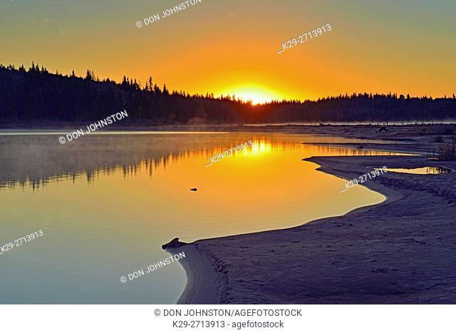 Pine Lake at sunrise, Wood Buffalo Ntional Park, Alberta, Canada