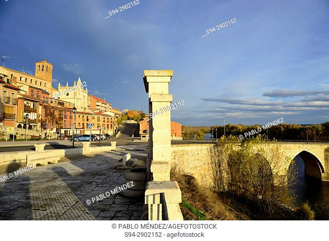 Bridge over Duero river and houses in Tordesillas, Valladolid, Spain