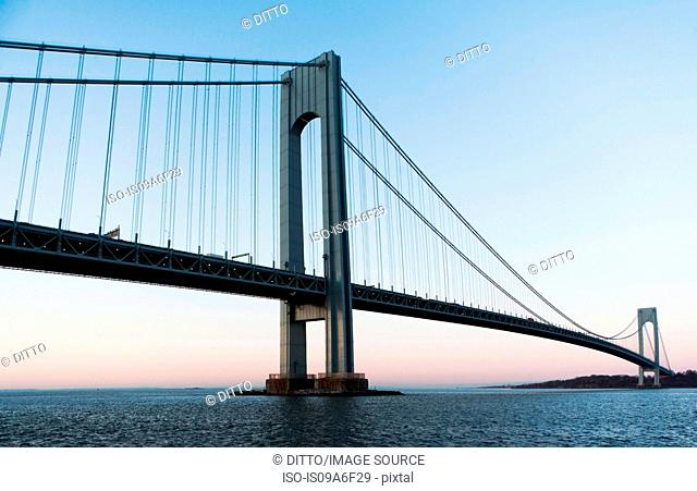 Verrazano-narrows bridge at sunrise, New York City, USA
